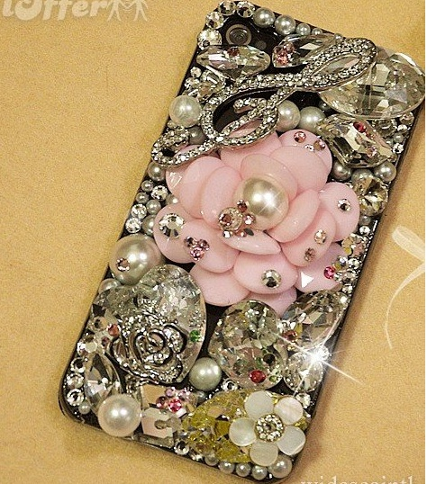 iPhone Hard Case Bling Crystal Pearls Pink Flower - $124.99Pink Flowers
