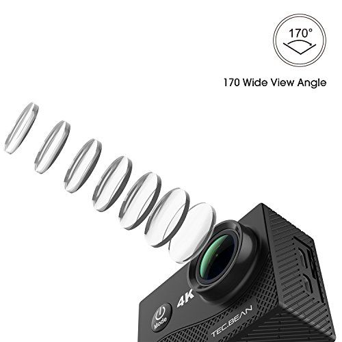 awesome TEC.BEAN 4K Sport Action Camera 16MP WIFI Waterproof Camera 2inch LCD Screen one hundred seventy Ultra Wide-Angle Lens,2pcs Rechargeable battery and kits of equipment (Black)
