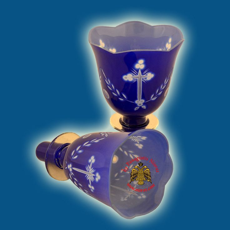 Louserna Orthodox Carved Cross Glass Votive Cup with Standing Poll in Blue White Colour