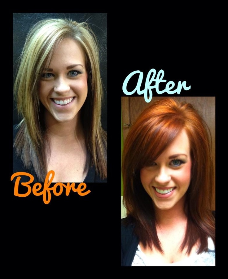 Before and After - Copper Red Haircolor - TIGI HAIRCOLOR - Mix Master  Before and After by Hanna Bourn at Salon Brands Wichita KS