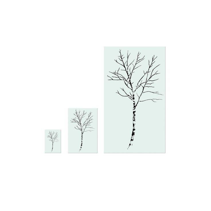 "Stencil1 Birch Tree - Wall Stencil 28"" x 72"", White"