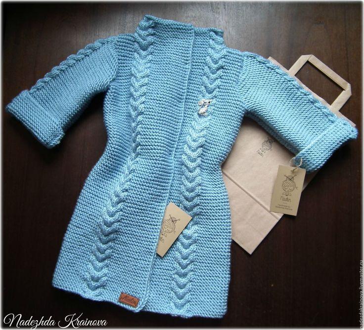 Купить Детский кардиган - голубой, кардиган, кардиган для девочки, спицами, пальто, демисезон, шерсть, акрил