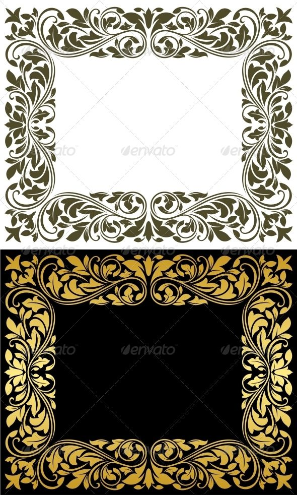 Floral Frame in Retro Style #GraphicRiver Floral frame in retro style with floursh elements and embellishments.