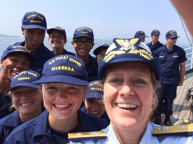 Rear Adm. Linda Fagan, commander of the First Coast Guard District, visits U.S. Coast Guard Academy cadets aboard Coast Guard Cutter Eagle.