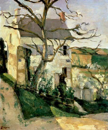 Paul Cézanne-Bald tree and house.