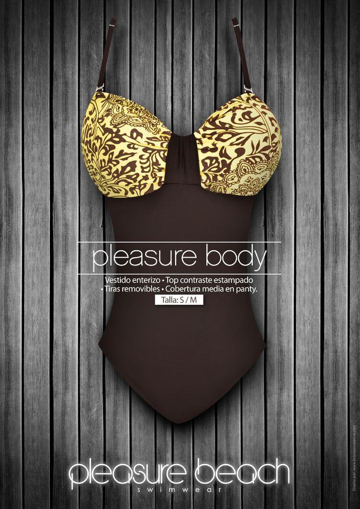 Pleasure body Vestido enterizo, top contraste estampado, tiras removibles- cobertura media