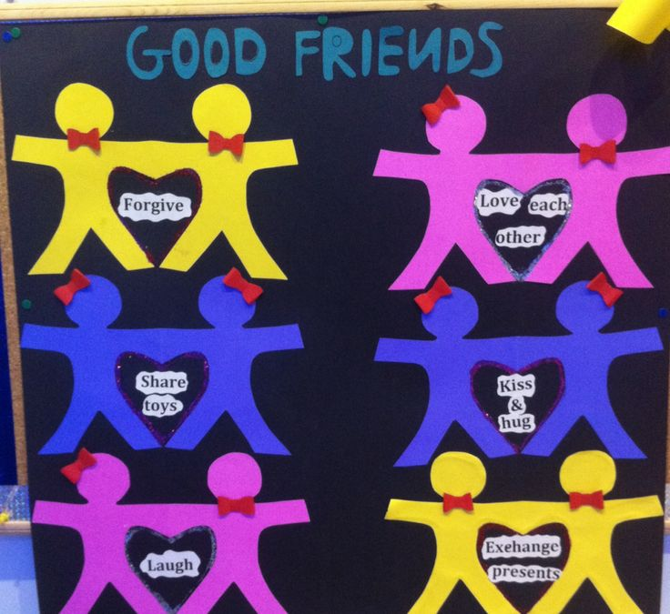 Friendship bulletin board ideas for kindergarten/preschool - good friends theme