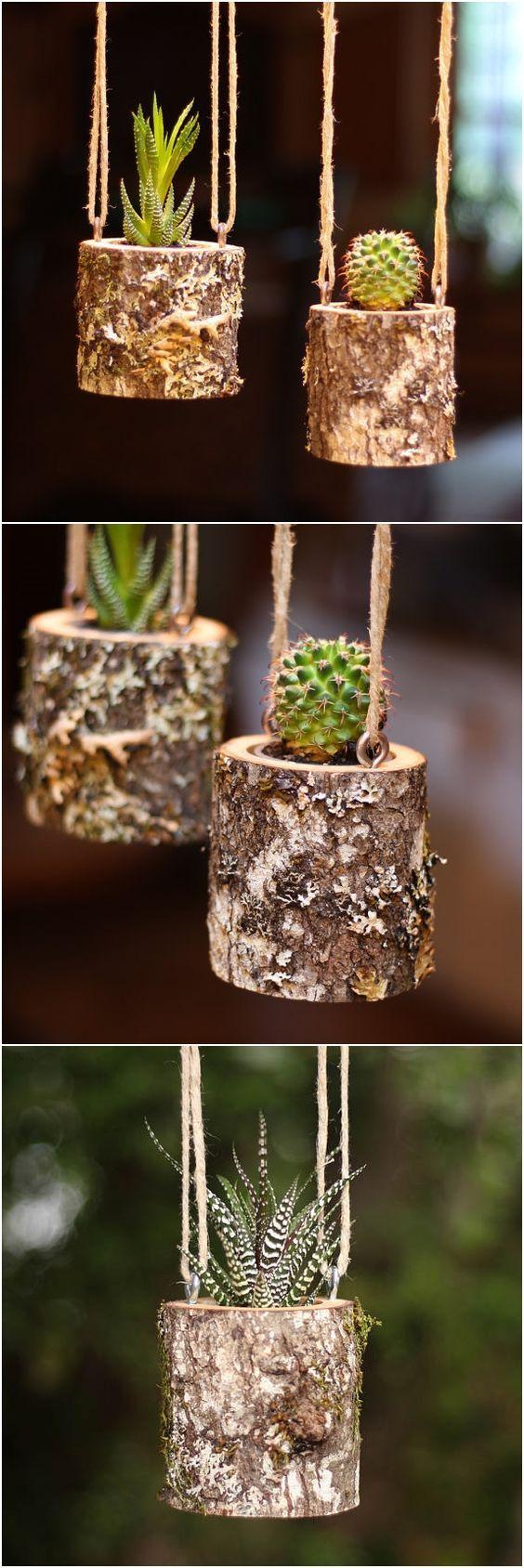 Varias formas de colgar tus macetas para decorar tu hogar Indoor Succulent Planter, Log Planter, Succulent Gifts, Succulent Centerpieces, Hanging Succulents, Succulents In Containers, Succulents Garden, Planter Ideas, Succulent Ideas