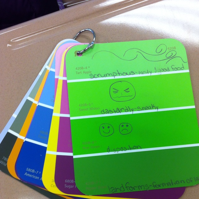 Paint chips for vocabulary rings - 4 sections could be used for different aspects of the word (definition, picture, synonym, antonym, original sentence, etc.)
