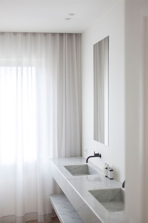 White bathroom curtains  | Rolies and Dubois