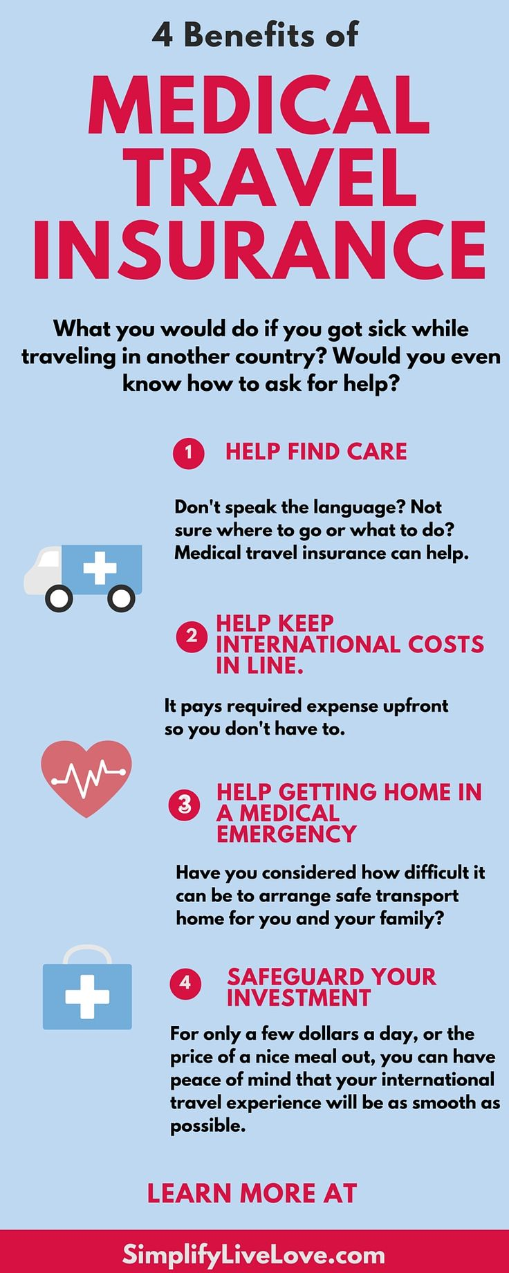 Why You might consider medical travel insurance for international travel and useful money saving tips for traveling internationally with children. AD