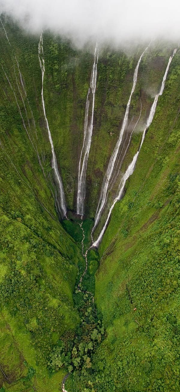 Helicopter View of 2000 ft High Waterfalls, the Big Island, Hawaii. #waterfall #Hawaii