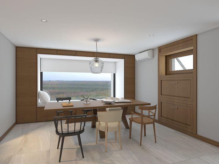 Рабочий кабинет с обустроенной на подоконной части окна зоной отдыха. Панорамного вида окно на всю ширину комнаты.