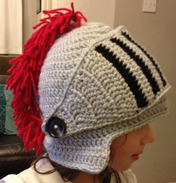 Crochet knight helmet hat, fabulous pattern on ravelry :-) Ryan ...