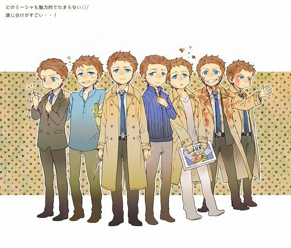 The many Castiels. <3 Jimmy Novak, Future!Cas, Cas, Emmanuel, Crazy!Cas, Leviathan!Cas, Graceless!Cas.