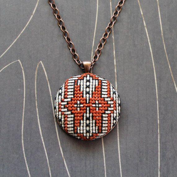 Owl cross stitch necklace/ pendant by TheWerkShoppe on Etsy, $44.00