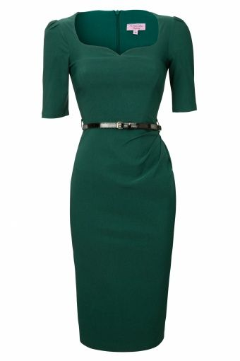 Charlotte Sweetheart Pencil dress in Forest Green