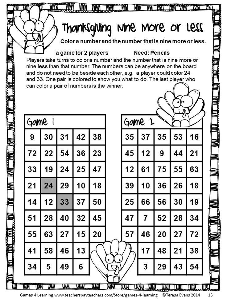 Thanksgiving Math Games Third Grade Fun Thanksgiving