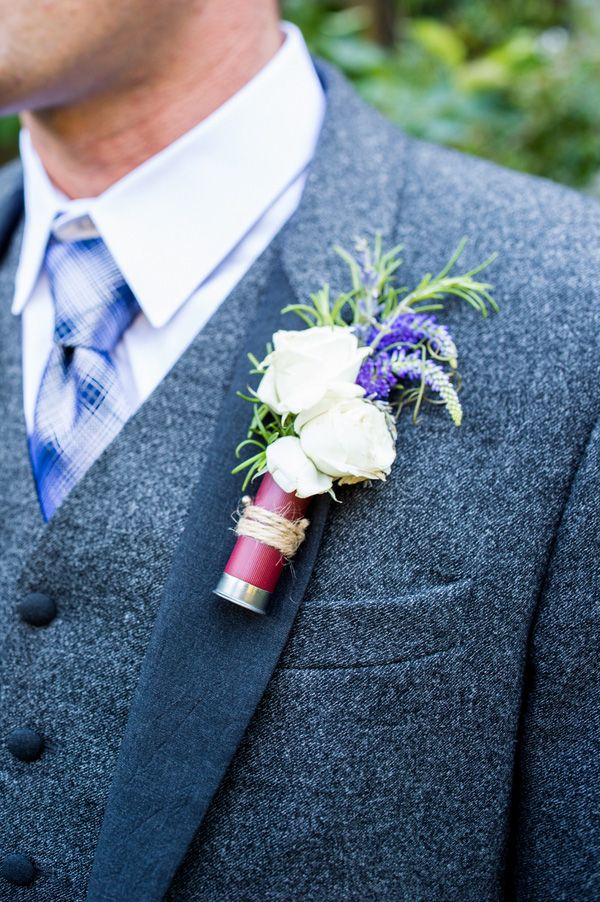 Custom Made Boutonnieres with Cream and Purple Flowers in Shotgun Shells | Dawn Heumann Photography | See More! http://heyweddinglady.com/ro...