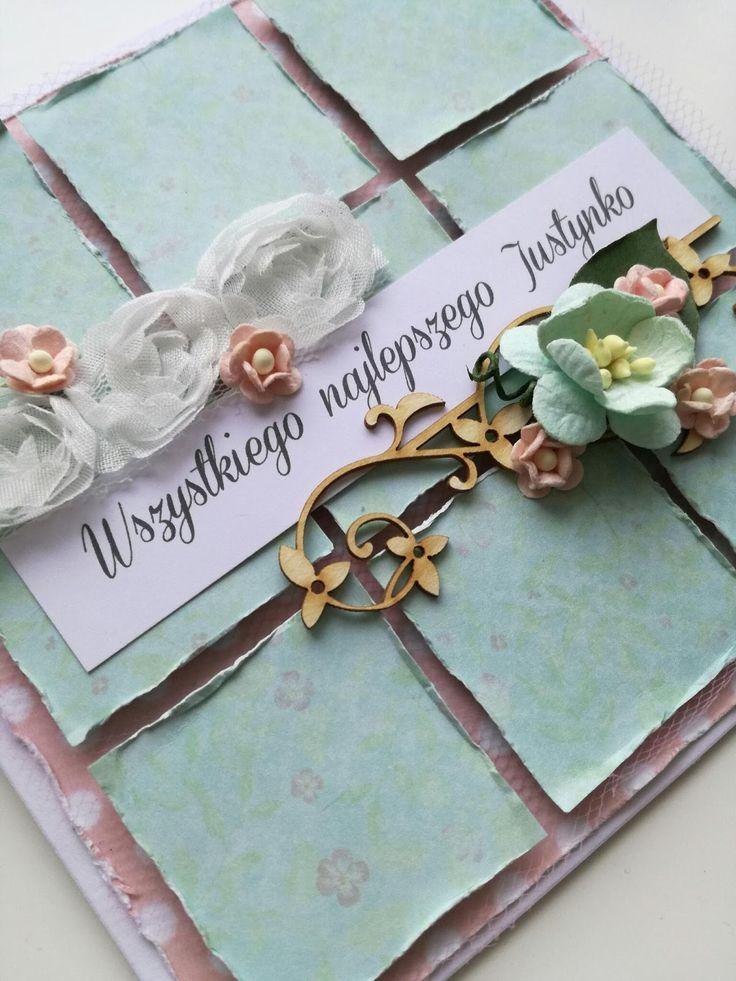 Pastelowa i romantyczna propozycja kartki dla kobiety.  Wyszło kwiatowo, lekko i delikatnie...