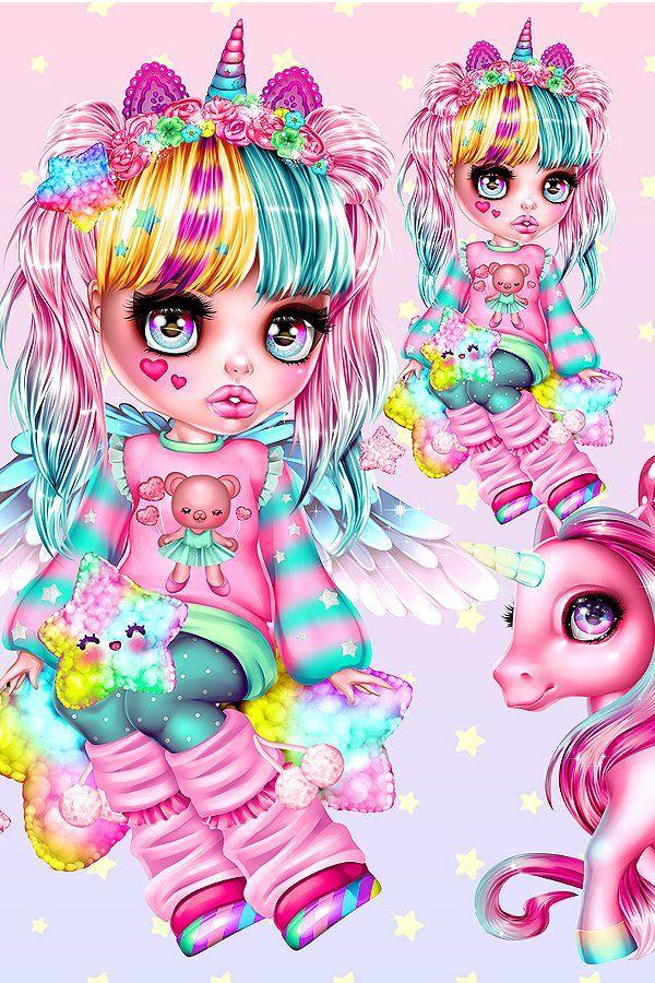 Magical Unicorns And Cute Girl In Anime Style Pony Unicorn Rainbow Alicorn Fairy Magic Colorful Doll Girl Anime In 2021 Anime Style Character Design Anime