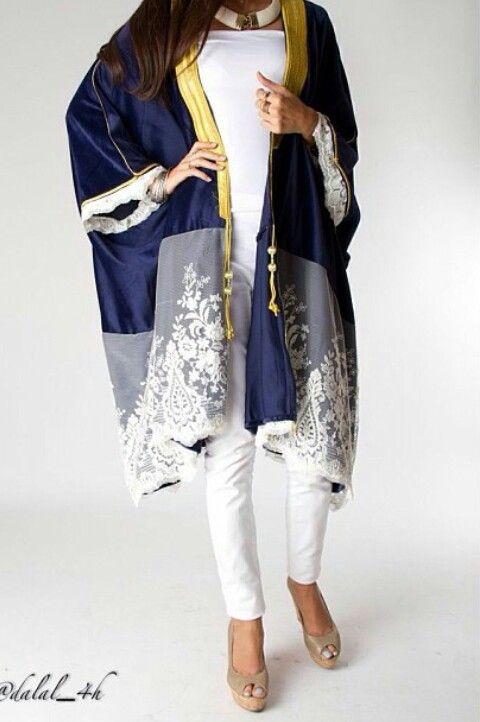 Dalal Maizi #abaya #caftan #kaftan #bisht #islamicdress #arab For more abaya caftan inspiration please visit my page: www.pinterest.com/santanadxb/abayas-bishts-kaftans-jalabiyas/
