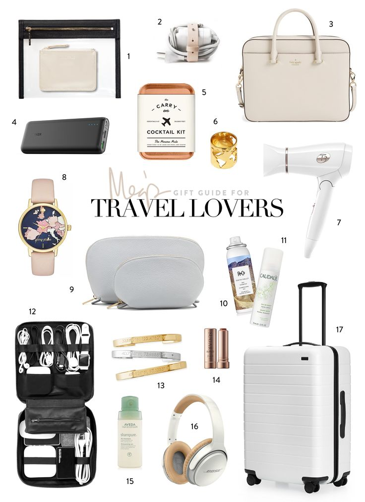 HOLIDAY GIFT GUIDE FOR TRAVEL LOVERS 1 // Truffle Pouches — The perfect pouches for everything when packing! 2 // Wire Holder — Computer chargers are the worst! They are so bulky. This is the pe