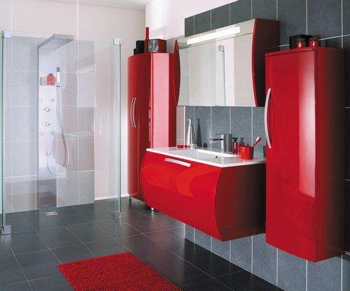 Les 25 meilleures id es de la cat gorie salles de bains - Salle de bain gris et rouge ...