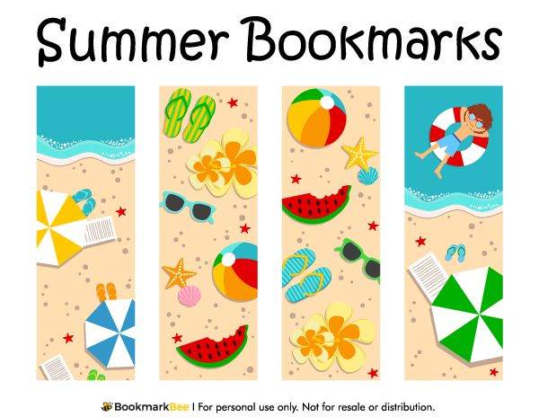 Free printable summer bookmarks. Download the PDF template at http://bookmarkbee.com/bookmark/summer/