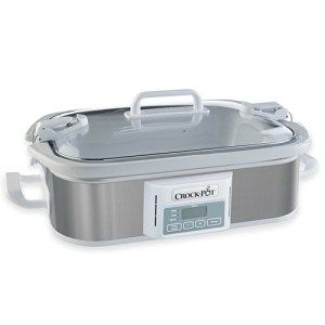 Crack-Pot Programmable Casserole Slow Cooker  Compared to its counterparts, the Crock-Pot Programmable Slow Cooker comes with absolutely no knobs. The design is simple, easy to understand and works with everything you put in its way. The cooker is controlled through a digitally controlled panel while an air-tight lid ensures that you don't run into any kind of problems while making a gourmet meal.