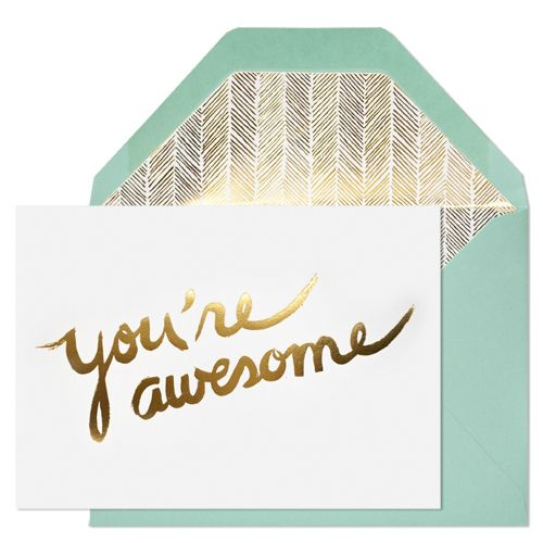 you're awesome card by sugar paperColors Combos, Sugarpaper, Mint Gold, Sugar Paper, You R Awesome, Los Angels, Paper Cards, You'R Awesome, Awesome Cards