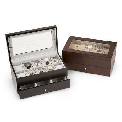 For the guy who has everything - and no place to put it. Our personalized Extra-Large Wood Jewelry and Watch Box displays up to 10 wrist watches on removable beige microsuede watch pillows, while the drawer holds cuff links, tiebars, bracelets and more. Engrave the top of the glass lid with his name, monogram or a special message from you.  https://www.thingsremembered.com/personalized-watch-boxes-for-men/category/watch-boxes-valets#?fcref=pinterest&beta=1