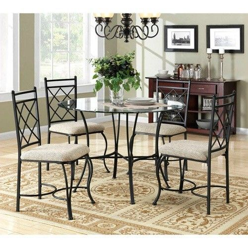 5 Pc Dining Room Set Round Glass Table Metal Chairs Seats Home Kitchen Furniture #5PcDiningRoomSet #Traditional