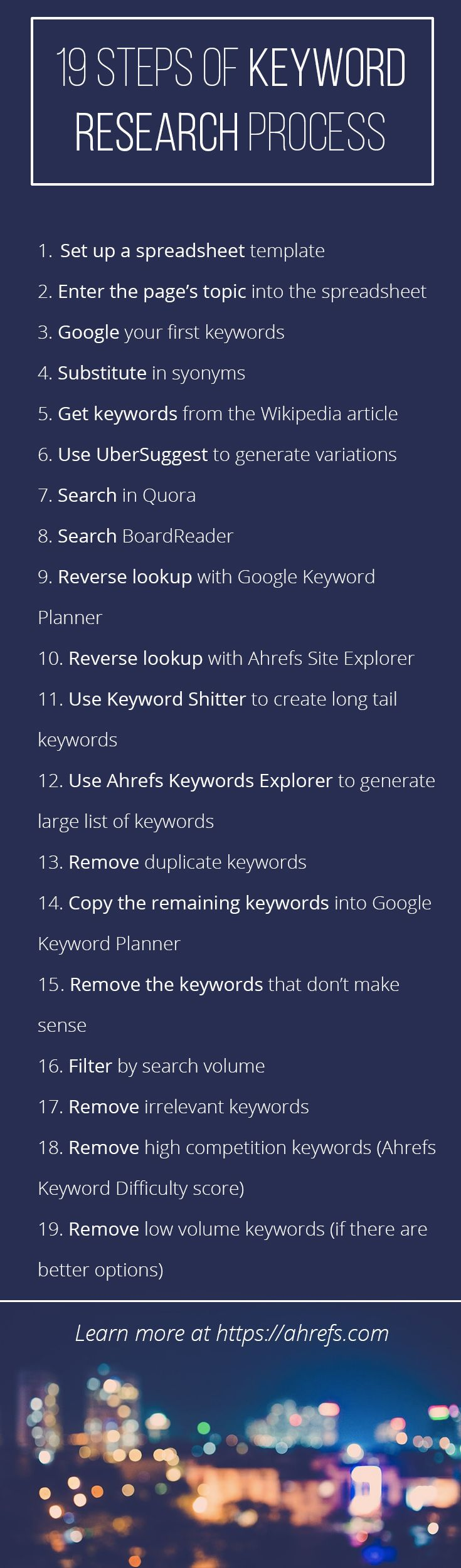 This 19 Step Keyword Research Process will SKYROCKET your Organic Search Traffic https://ahrefs.com/blog/keyword-research/
