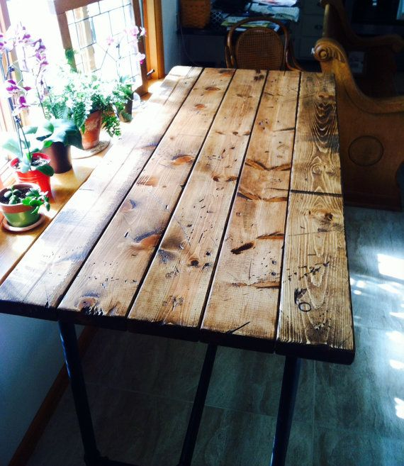 Farmhouse table style rustic island with pipe legs industrial pipe table harvest