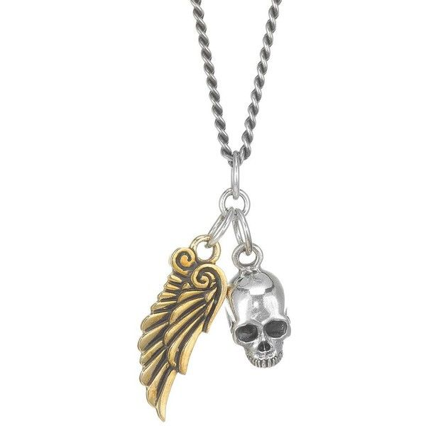 King Baby Studio Two-Tone Skull & Wing Pendant ($525) ❤ liked on Polyvore featuring men's fashion, men's jewelry, men's necklaces, mens skull pendant, mens necklaces, mens pendants, mens pendant necklace and mens angel wing necklace