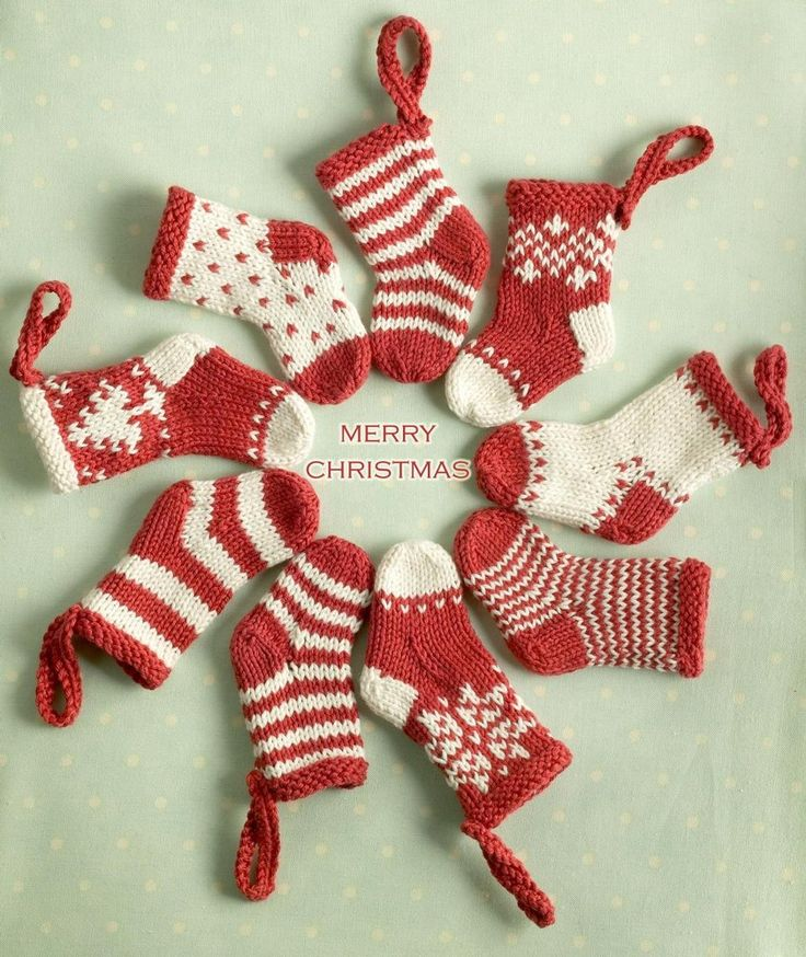 Mini Christmas Stocking Ornament Free Knitted Christmas Ornament