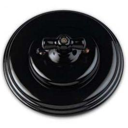 Schakelaar dubbel (voor 2 lampen), Zwart, Zwart knop porselein