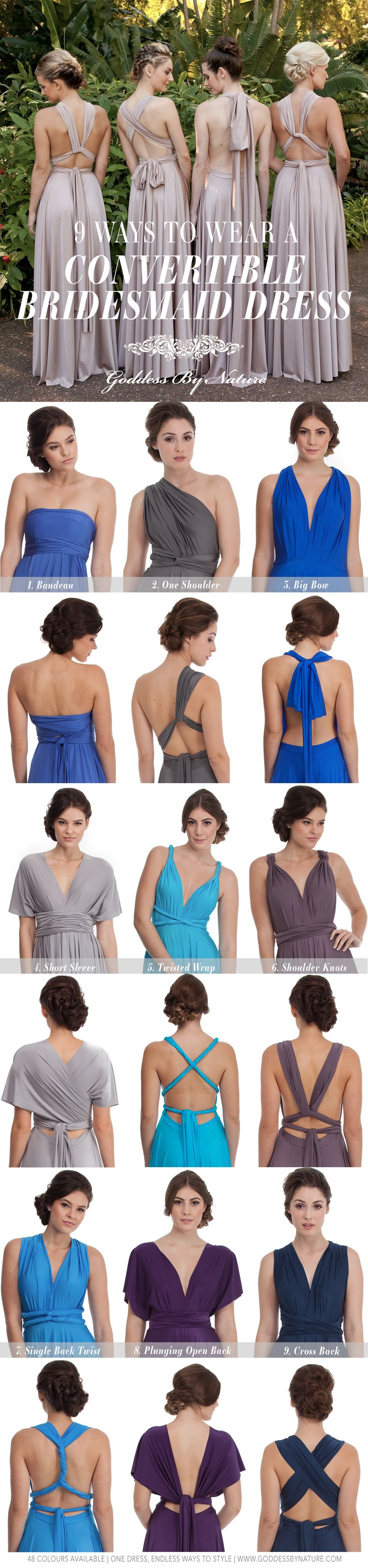 9 Ways To Wear A Multiway Bridesmaid Dress! 48 Colours Available | Shop Online www.shop.goddessbynature.com