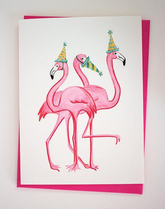 Картинках, открытка фламинго