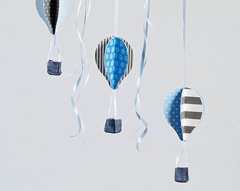 Aqua blau Heißluft Ballons mobile | Baby-Mobil | Heißluft Ballons Dekoration | grau blau Kinderzimmer Dekor | Dusche-Geschenkidee | Hängende mobile