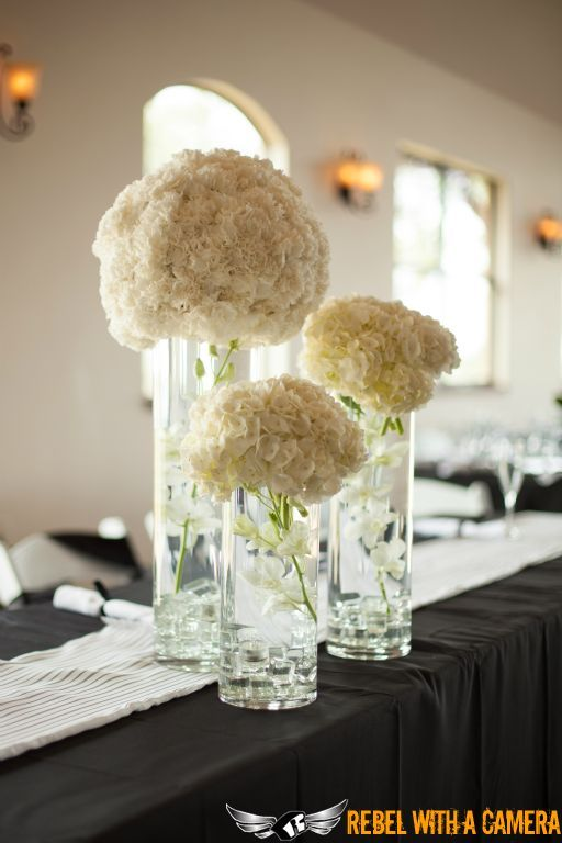 Stunning white hydrangea centerpieces.
