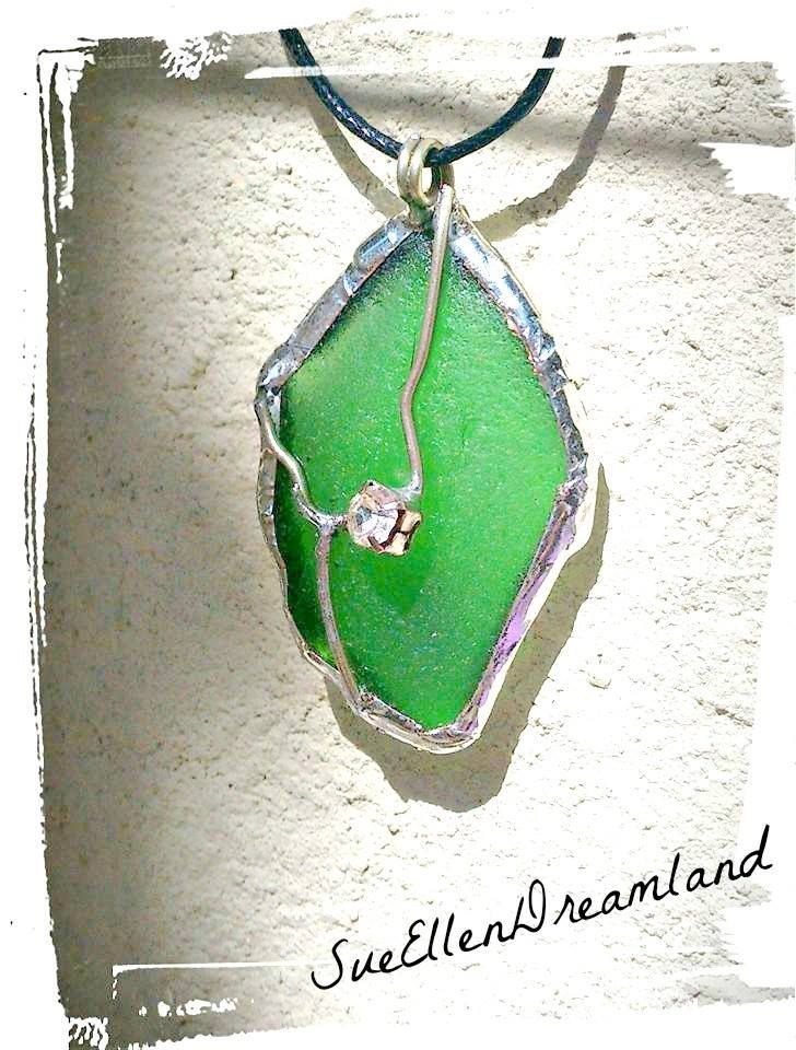 OOAK sea glass pendant natural shape Naxos Island map green white silver alloy Greek souvenir Aegean sea jewelry unique gift for all by SueEllenDreamland on Etsy