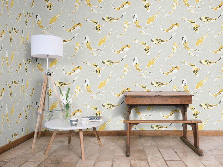 Harlequin Koi wallpaper design in the Saffron colourway.