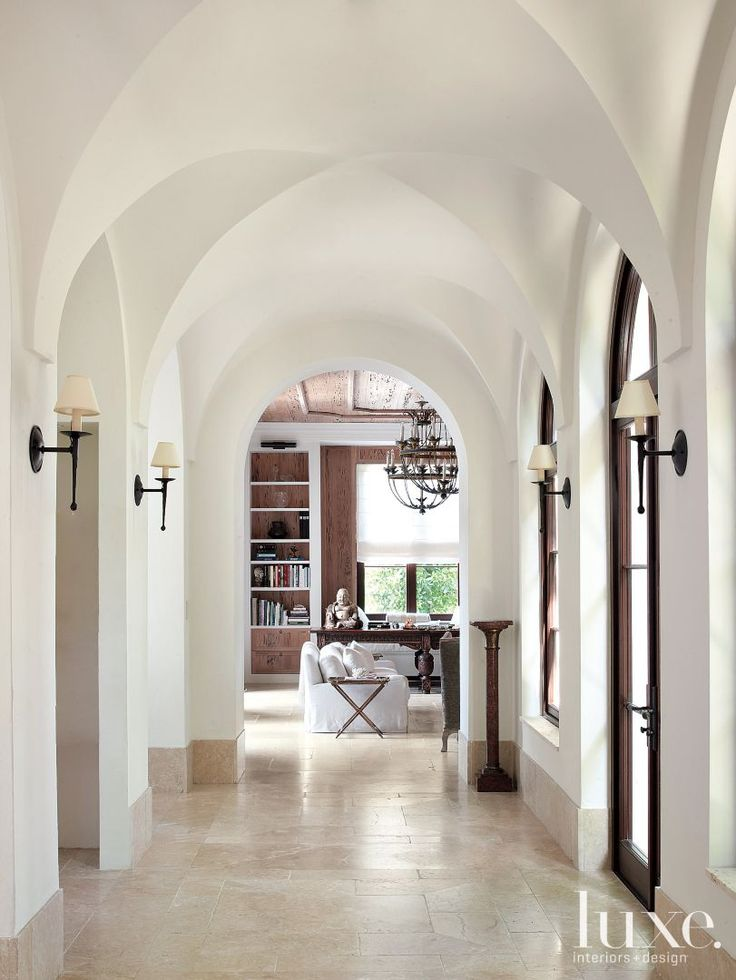 Coffered Ceiling Foyer : Mediterranean white dining room with coffered ceiling