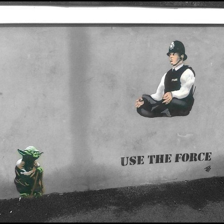 As the new Star Wars is out,here is one from 2011 removed a couple of years ago #usetheforce #jps #westonsupermare #streetart #yoda #theforceawakens #police #starwars #graffiti