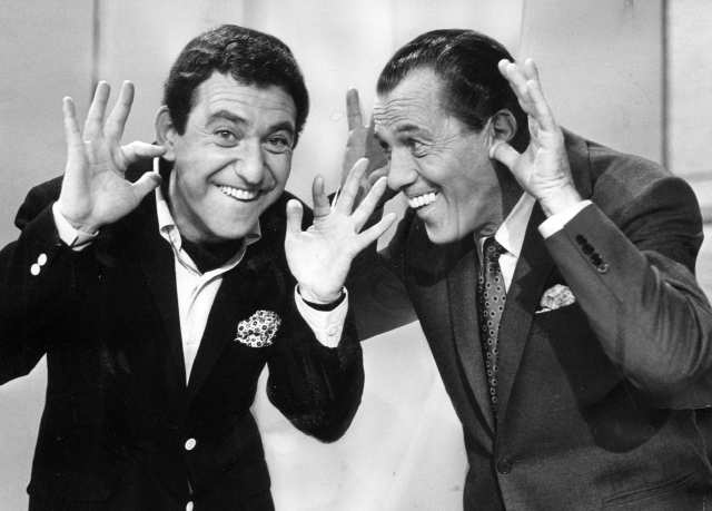 "Soupy Sales on Ed Sullivan, teaching him how to do ""The Mouse."": Vintage Photo"