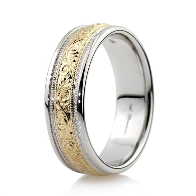 Men S Two Tone Hand Engraved Wedding Band In 14k White And Yellow Gold 7 0mm Mens Engraved Wedding Bands Wedding Band Engraving Mens Gold Wedding Band