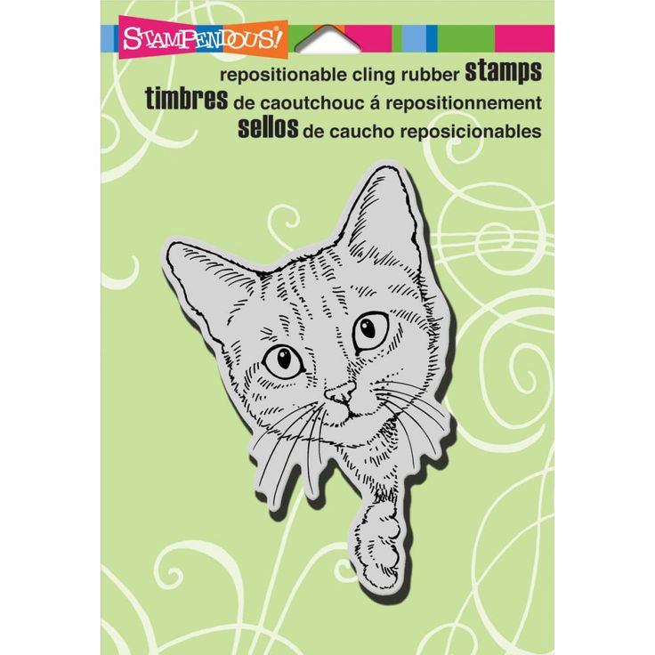 Stampendous Cling Rubber Stamp Feline Curious
