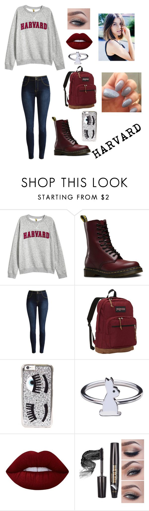 """Harvard University"" by lovekeke9204 ❤ liked on Polyvore featuring H&M, Dr. Martens, JanSport, Chiara Ferragni, Rachel Balfour Jewellery and Lime Crime"